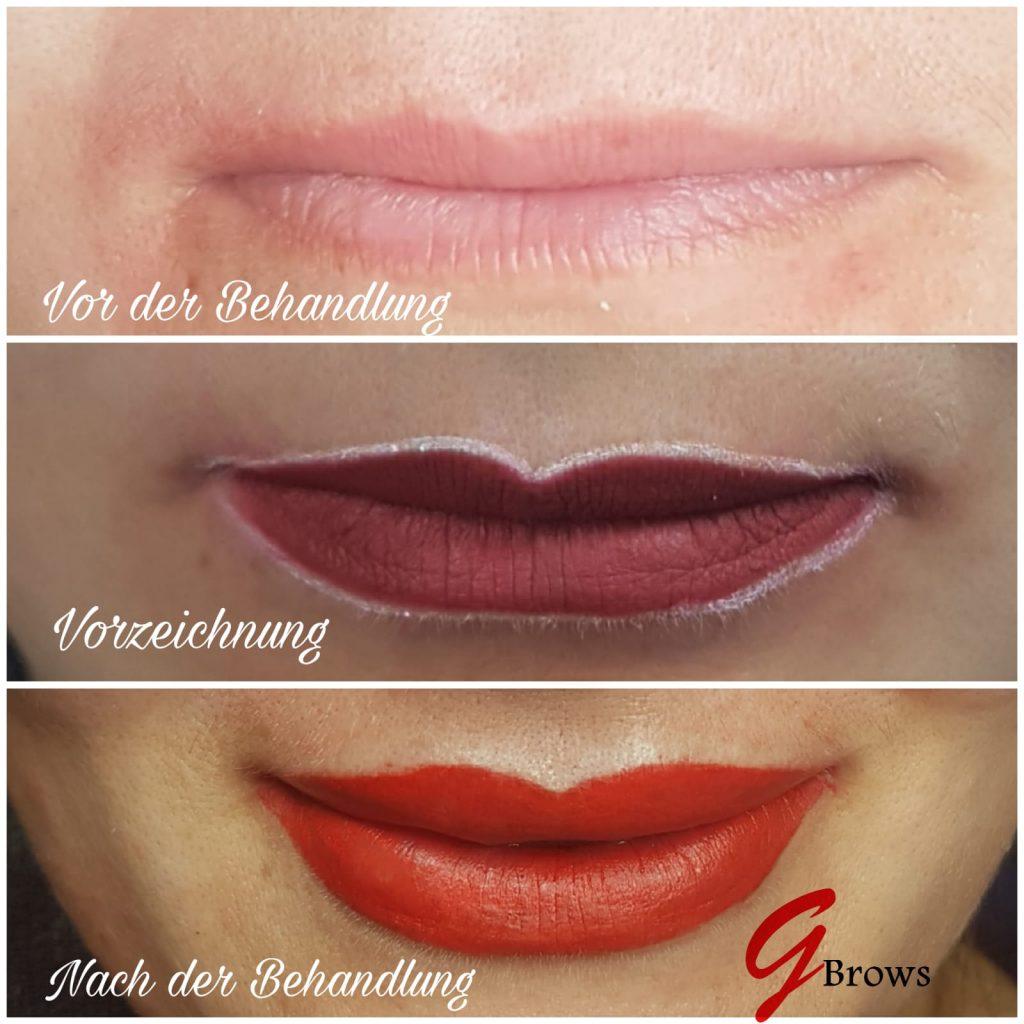 Lippen Pigmentierung Permanent Make Vorher Nachher vollere Lippen