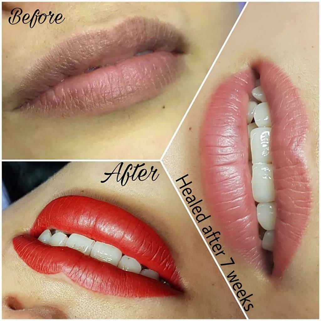 Lippen Pigmentierung Permanent Make Up Abheilung nach 7 Wochen